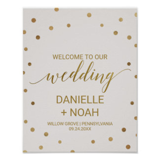 Gold Polka Dots Wedding Welcome Poster