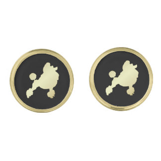 Gold Poodle on Black Gold Finish Cufflinks