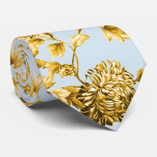 Gold & Powder Blue Modern Botanical Floral Toile Tie