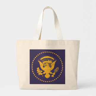 Gold Presidential Seal on Blue Ground Large Tote Bag