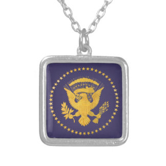 Gold Presidential Seal on Blue Ground Silver Plated Necklace