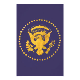 Gold Presidential Seal on Blue Ground Stationery