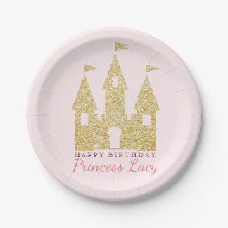 Gold Princess Castle Birthday Party 7 Inch Paper Plate