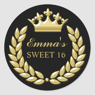 Gold Princess Crown Personalized Black Sweet 16 Classic Round Sticker