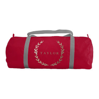 Gold Print Red Gym Duffle Bag