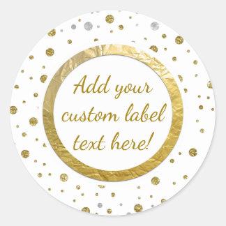Gold Printed Confetti Custom Craft Label Round Sticker