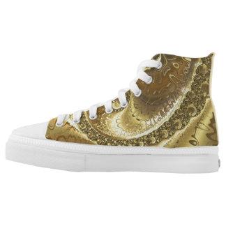 Gold printed custom Designer Sneakers