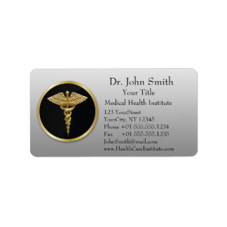Gold Professional Medical Caduceus - Address Label