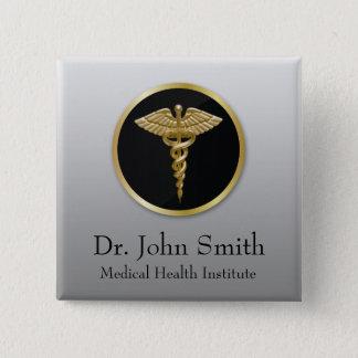 Gold Professional Medical Caduceus - Button
