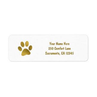 Gold Puppy Dog Paw Faux Gold Return Address Label