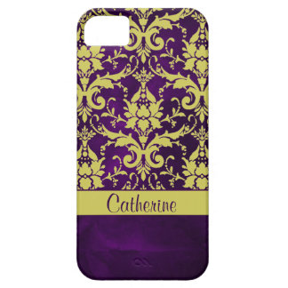 Gold Purple Damask Case For The iPhone 5