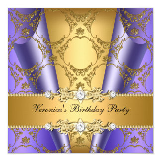 Gold Purple Damask Floral Elegant Birthday Party 5.25x5.25 Square Paper Invitation Card