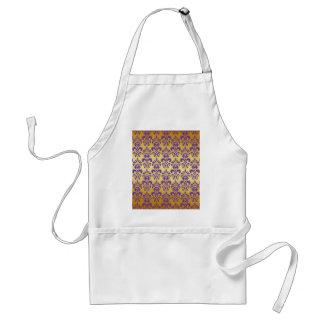 Gold, Purple Damask Pattern 2 Apron