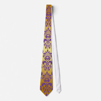 Gold, Purple Damask Pattern 2 Tie