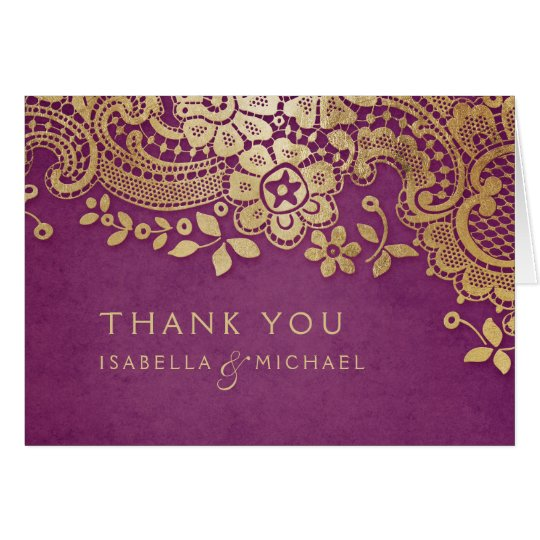 Gold purple elegant vintage lace wedding thank you card