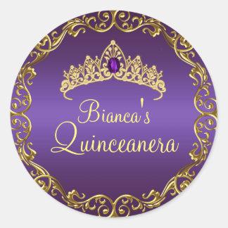 Gold & Purple Gem Tiara Quinceanera Sticker