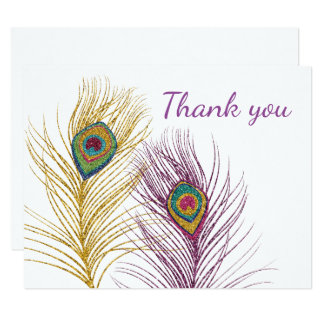 Gold Purple Glitter Peacock Feathers Thank You 11 Cm X 14 Cm Invitation Card