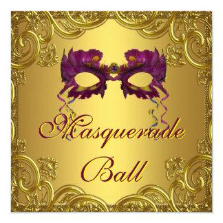 Gold Purple Mask Purple Masquerade Ball Party 13 Cm X 13 Cm Square Invitation Card