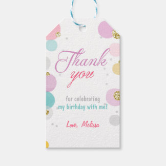 Gold purple pink silver thank you favor gift tags