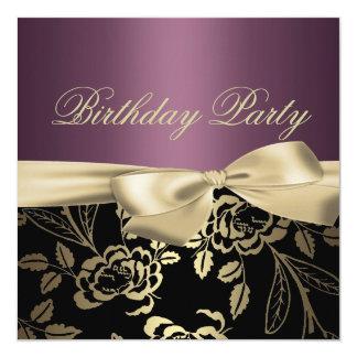 Gold & Purple Rose Leaf Bow Birthday Invitation