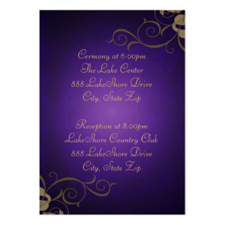 Gold & Purple Scroll Guest Info Business Card