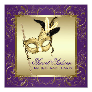 Gold Purple Sweet Sixteen Masquerade Party 13 Cm X 13 Cm Square Invitation Card