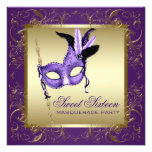Gold Purple Sweet Sixteen Masquerade Party Custom Announcements