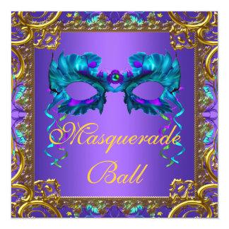 "Gold Purple Teal Blue Mask Masquerade Ball 5.25"" Square Invitation Card"