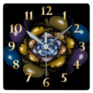 Gold Purple Teal Petals Square Wall Clock