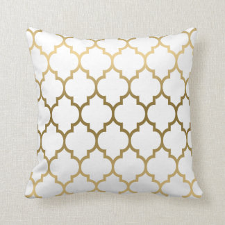 Gold Quatrefoil Pattern Custom Background Throw Pillow