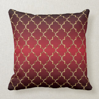 Gold Quatrefoil Pattern on Deep Red Blend Cushion