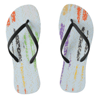 Gold Rain and flowers Adult Slim Straps Flip-flops Thongs