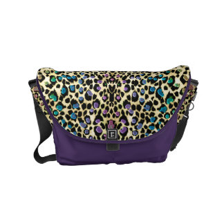 Gold Rainbow Leopard Animal Print Messenger Bag
