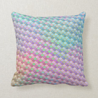 Gold Rainbow Ombre Mermaid Scales Cushion