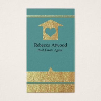 Gold Real Estate Agent Business Cards Teal
