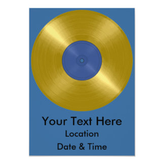 Gold Record Album 13 Cm X 18 Cm Invitation Card