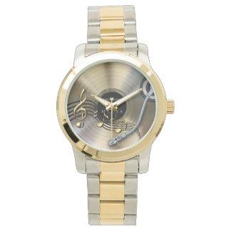 gold record two-tone bracelet watch