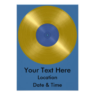 Gold Record with Blue Label Invitations