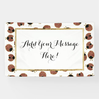 Gold Red and Black Cute Lady Bugs Pattern Banner