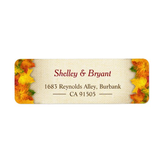 Gold Red Autumn Leaves Rustic Burlap Seasonal Return Address Label