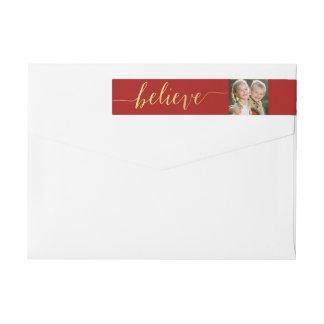Gold Red Believe Holiday Photo Return Address Wrap Around Label