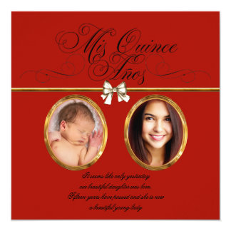 Gold Red Black Photo Quinceanera Invitations