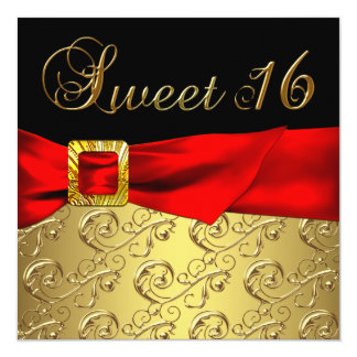 Gold Red Black Sweet 16 Birthday Party Card