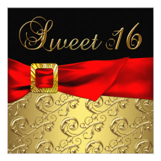 Gold Red Black Sweet 16 Birthday Party Custom Invite
