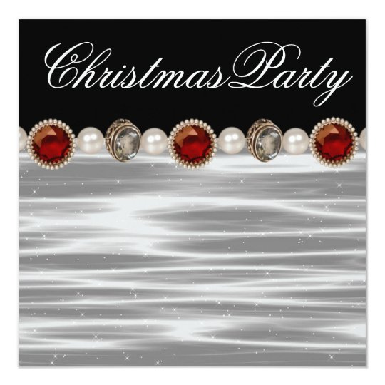 Gold Red Black White Christmas Party Card