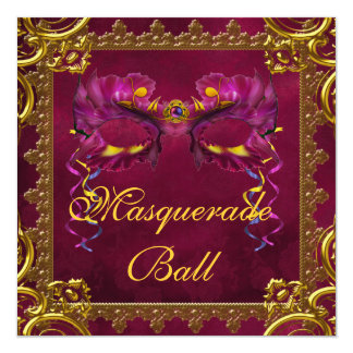 Gold Red Burgundy Maroon Mask Masquerade Ball Personalized Invitations