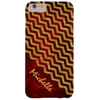 Gold Red Chevron Personalized Barely There iPhone 6 Plus Case