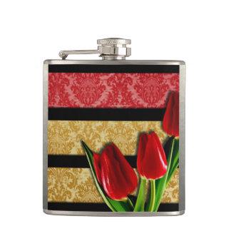 Gold Red Damask Black Stripes & Tulips Hip Flask