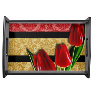 Gold Red Damask Black Stripes & Tulips Serving Tray