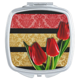 Gold Red Damask Black Stripes & Tulips Vanity Mirror